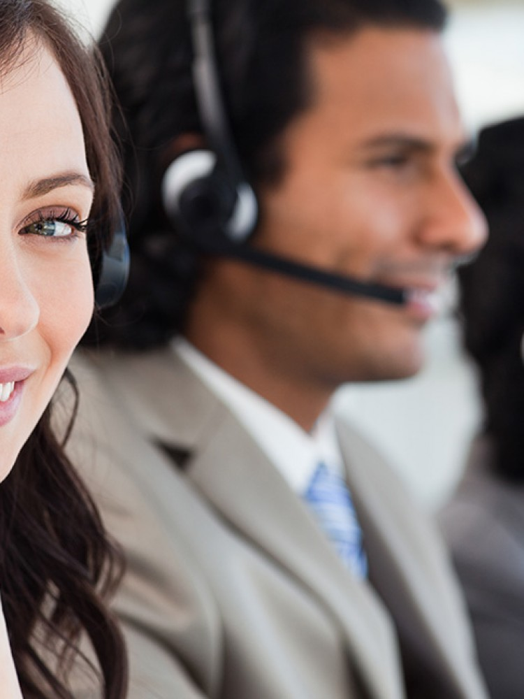 call centre woman smiling